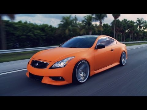 "Matte Orange Infiniti G37s on 20"" Vossen VVS-CV7 Concave Wheels / Rims"
