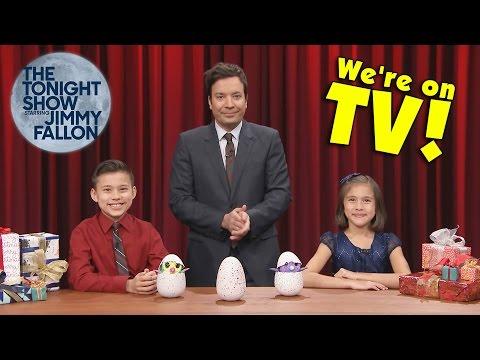 JIMMY FALLON SMASHES MY HATCHIMALS!!! Evan & Jillian on The Tonight Show!