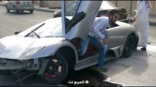 """""""بالفيديو والصور"""" حادث لامبورجيني مورسيلاجو في مدينة الطائف"""