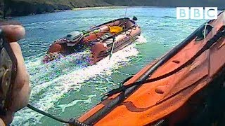 The shocking high-speed rescue of a runaway speed boat!   Saving Lives at Sea - BBC - BBC