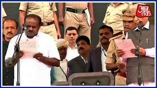 H.D. Kumaraswamy Takes Oath As Karnataka Chief Minister In The Name Of The People Of K'taka - AAJTAKTV