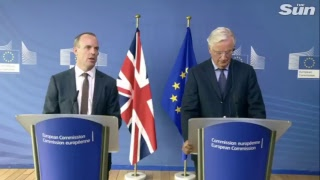 Brexit minister Raab and EU brexit negotiator Barnier hold news conference - THESUNNEWSPAPER