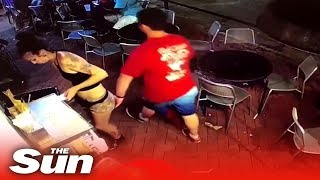 Waitress tackles customer who SLAPS her bum - THESUNNEWSPAPER