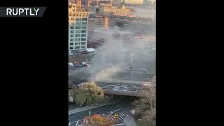 Massive inferno on Brooklyn Bridge: Four-car crash shut down traffic - RUSSIATODAY