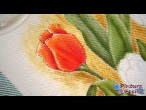 Como Pintar en Tela Tulipanes *Paint Fabric Tulips* Pintura Facil