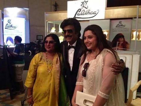 Rajini poses for a snap with his yesteryear Heroines Sripriya and Meena | Linga