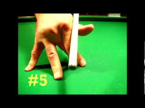 THE POSITION OF THE RIGHT HAND FINGERS ON THE BILLIARD