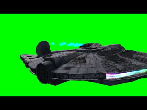 Millennium Falcon in flight with laser Gun shots - Star Wars - green screen effects