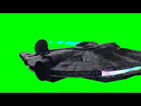 Millennium Falcon in flight with laser Gun shots - Star Wars - green screen effects