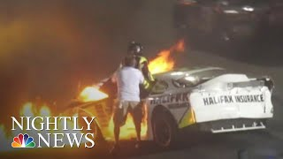 Father Pulls Son From Burning Car After Dramatic Racetrack Crash | NBC Nightly News - NBCNEWS