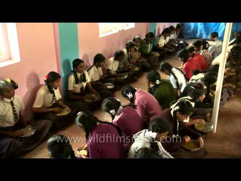 Primary school children receiving Midday Meal in Karnataka