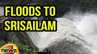 Srisailam Dam Ten Gates opened For Outflow Of Heavy Rains Flood Water | Mango News - MANGONEWS