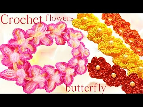 Como tejer a ganchillo Crochet mariposas en relieve flores y diademas - How to crochet
