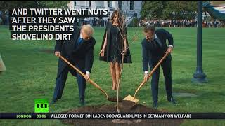 'Burying the body': Twitter goes smart-ass about Trump & Macron planting tree - RUSSIATODAY