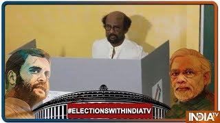 Lok Sabha Elections 2019:Actor-turned-politician Rajinikanth Casts His Vote In Tamil Nadu's Chennai - INDIATV