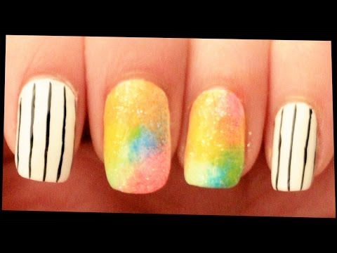 Black, White & Glittery Neons nail art