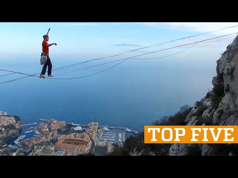 TOP FIVE: Hoop Diving, Highlining & Handstands | PEOPLE ARE AWESOME 2017
