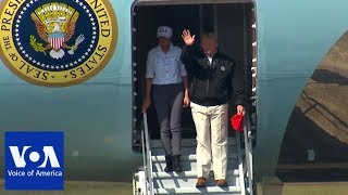 President Trump and Melania Arrives in Florida to Survey Damage from Hurricane Michael - VOAVIDEO