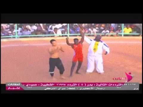 مصارع سودانى يهزم مصارع يابانى فى المصارعة بجبال النوبة