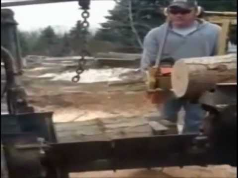 Homemade firewood processor with husqvarna chainsaw