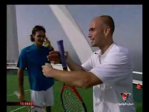 Roger Federer and Andre Agassi at the Burj Al Arab in Dubai