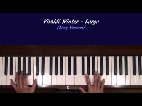 Vivaldi Winter Largo Piano Tutorial EASY Version at Tempo