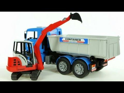 MAN Tipping Container Truck with Schaeff Mini Excavator – Muffin Songs' Oyuncakları Tanıyalım