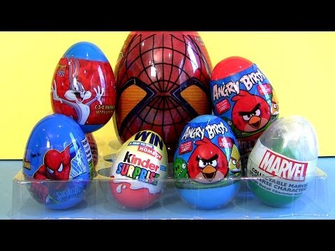 Spiderman Surprise Eggs Marvel Kinder Bugs Bunny, Angry Birds Marvel The Avengers Captain America