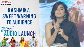 Rashmika Sweet Warning To Audience @ Devadas Audio Launch || Akkineni Nagarjuna, Nani - ADITYAMUSIC