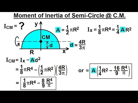 Mechanical Engineering: Ch 12: Moment of Inertia (49 of 97) Semi-Circle @ Center of Mass