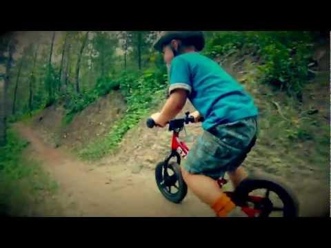 Amazing and Cute 3 year old kid mountain biking! (strider bikes rule!)