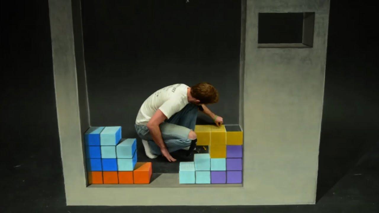 Artist Chris Carlson menciptakan kapur mengagumkan stop motion permainan anak favorit semua orang: Tetris!
