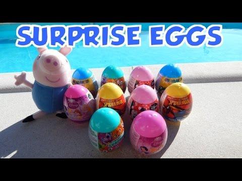 10 Surprise Eggs Spiderman, Disney Princess, Minnie Mouse and Super Mario Toys