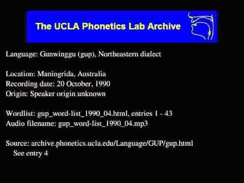 Gunwinggu audio: gup_word-list_1990_04