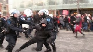 Protest violent la Montral