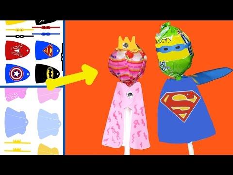 Chupa chups de princesas o Superhéroes de IDEAS PARA FIESTAS