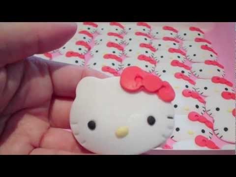 How to Make Hello Kitty Cupcake Toppers (1) Face Details &amp; Bow