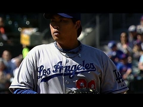 LAD@NYM: Ryu strikes out eight in strong start