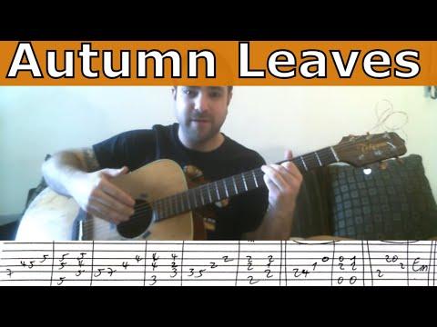 Guitar Tutorial: Autumn Leaves - Fingerstyle + Walking Bass w/ TAB