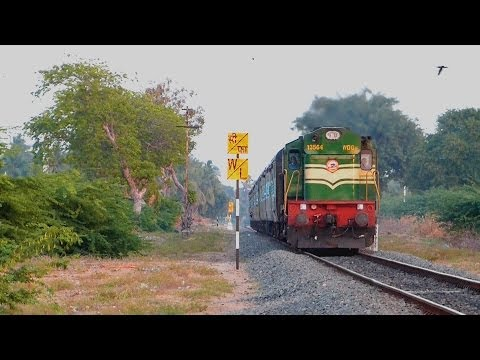Train in Rural Tamil Nadu : Indian Railways ALCo