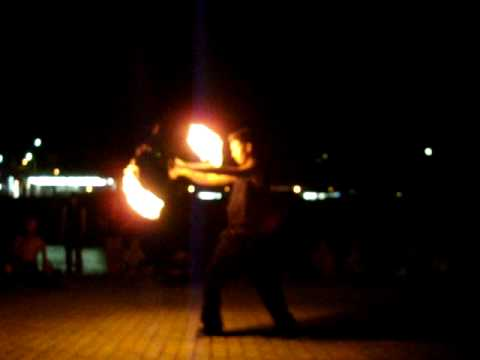 Tom playing fire Poi at Kamogawa (Kyoto)