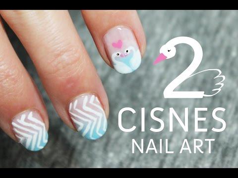 Uñas decoradas con cisnes paso a paso | Tutoriales de Nail Art
