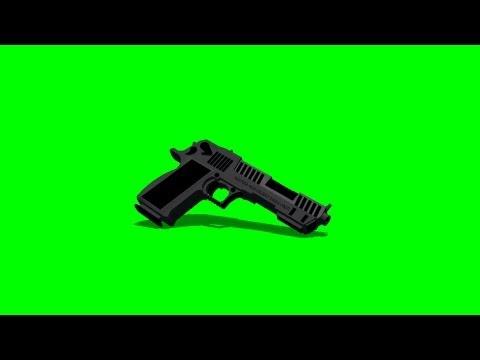 Gun Desert Eagle Gun fall to the Ground - green screen effects