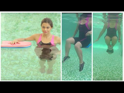 Aquafit: Strengthening core muscles with kickboard and dumbbell - DIY aqua aerobics, pool exercises