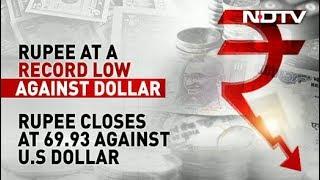 Rupee Falls Sharply To Close At Record Low Against Dollar - NDTV