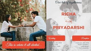 Priyadarshi's Wedding Invitation Card | Priyadarshi Weds Richa - RAJSHRITELUGU
