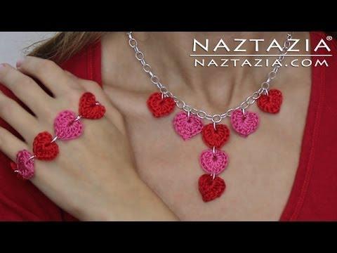 DIY Learn How to Crochet Jewelry - Heart Necklace Bracelet - Hearts Necklaces Bracelets Jewellry