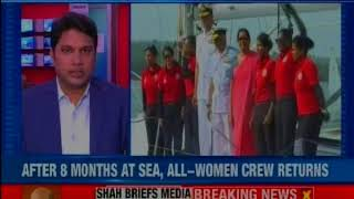INVS Tarini flagged in by Defence Minister; women from INSV Tarini make history - NEWSXLIVE
