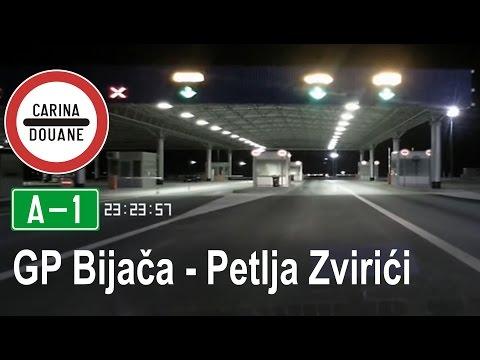 BiH Autocesta A1: Granični prijelaz Bijača - petlja Zvirići [noćna vožnja]