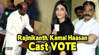 Rajinikanth, Kamal Haasan Cast VOTE #TNelection2019 - IANSLIVE